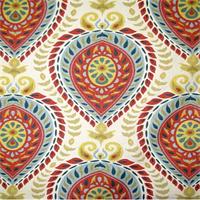Shiraz Carnival Red Floral Medllion Drapery Fabric