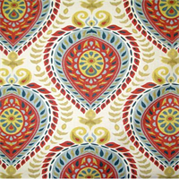 Shiraz Carnival Red Floral Medllion Drapery Fabric Order a Swatch