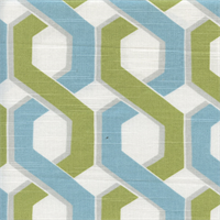 Mino Lynwood Green Blue Geometric Print Cotton Drapery fabric Order a Swatch