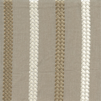 Cheverny Taupe Gray Tan Embroidered Striped Drapery Fabric
