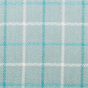 Sidney Herringbone Seaspray Blue Plaid Upholstery Fabric