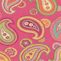 Jolie Paisley Cotton Candy Pink Cotton Floral Drapery fabric by P kaufmann