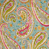 Watercolors Turquoise Blue Paisley Floral Cotton Drapery Fabric by P Kaufmann