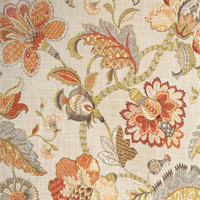 Finders Keepers Spice Cotton Floral Drapery Fabric by P Kaufmann