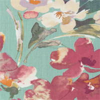 Paint Palette Turquoise Blue Linen Floral Drapery Fabric by P Kaufmann Order a Swatch