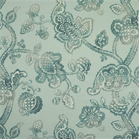Lovina Mineral Blue Floral Linen Drapery Fabric by P Kaufmann