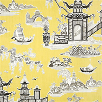 Peaceful Temple Lemongrass Yellow Oriental Toile Cotton Drapery Fabric by Waverly