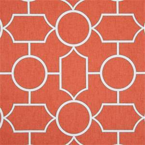 *1 YD PC--Baldwin Mandarin Red Cotton Geometric Drapery Fabric
