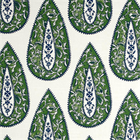 Bindi Slub Kelly Green Floral Cotton Drapery Fabric