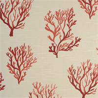Santorini Geranium Red Coral Printed Cotton Slub Drapery Fabric Swatch