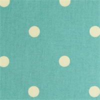 "On the Spot Dots Aqua Blue .75"" Polka Dot Cotton Drapery Fabric"