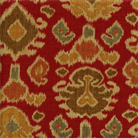 Namaste Cliffside Chili Red Ikat Print Linen Look Drapery Fabric 1.75 Yard Piece
