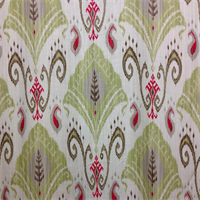 Samarkland Bottle Green Ikat Linen Drapery Fabric Swatch