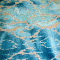 Maldives Laguna Turquoise Blue Cut Velvet Upholstery Fabric