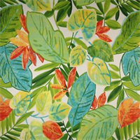 Everglades Tropical Parakeet Green Floral Cotton Drapery Fabric  5.375 yd piece