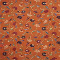 Jangle Trails Cinnamon Floral Linen Drapery Fabric  6.125 yd Piece