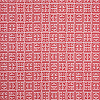 Towers Rojo Red Greek Key Design Indoor Outdoor Fabric by Premier Prints