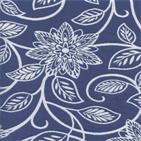 Portico Blue Floral Woven Upholstery Fabric Swatch