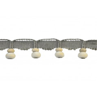 BF-4802 Color 11 Grey Wooden Beaded Trim Swatch