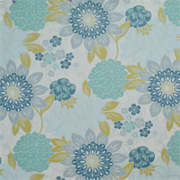 Garden Party Island Blue Floral Upholstery Fabric Swatch