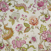 Erin Malawi Hibiscus Pink Floral Drapery Fabric Swatch