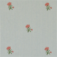 Carnation Capri Blue Floral Embroidered Drapery Fabric Swatch