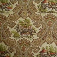 Erin Equinox Khaki Tan Paisley Horse Drapery Fabric Swatch
