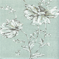 Summers Night Spa Blue Floral Cotton Drapery Fabric Swatch