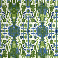 Bombay Kelly Green Ikat Cotton Slub Drapery Fabric Swatch