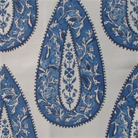 Bindi Colbalt Blue Floral Cotton Drapery Fabric Swatch