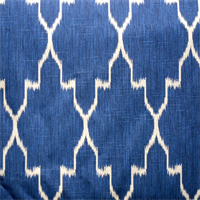 Monaco Cobalt Blue Ikat Design Cotton Drapery Fabric