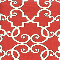Woburn Paramount Tomato Red Geometric Cotton Drapery Fabric by Swavelle Mill Creek Swatch