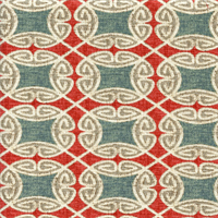 Ferro Sussex Chilipepper Red Geometric Design Cotton Drapery Fabric by Swavelle Mill Creek Swatch