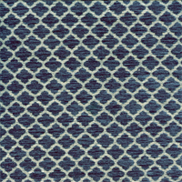 Moroccan Tile Denim Blue Chenille Upholstery Fabric