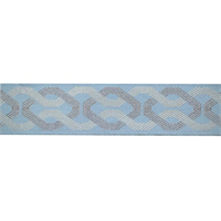 Collosseum Spa Blue and Tan Tape Trim Swatch