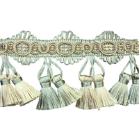 Gest Aqua Green Tassel Trim Swatch