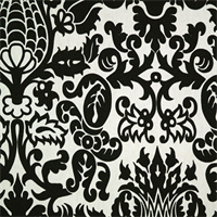 Amsterdam Black White Floral Print Drapery Fabric by Premier Prints