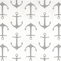 Anchors Ash Grey Slub Printed Drapery Fabric by Premier Prints