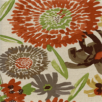Vivian Persimmon Orange Natural Floral Drapery Fabric