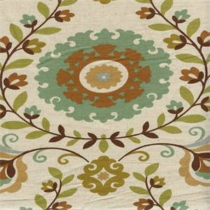Veronica Sassafrass Green Floral Drapery Fabric Swatch