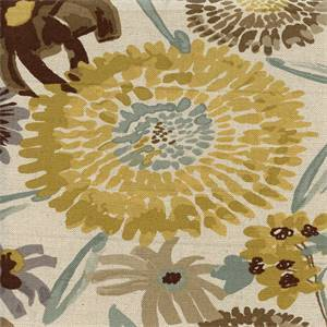 Vivian Mineral Natural Gray Green Floral Drapery Fabric Swatch