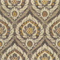 Pompeii Beige Brown Floral Medallion Drapery Fabric Swatch