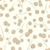 Summer Dandelion Brown Floral Linen Drapery Fabric Swatch