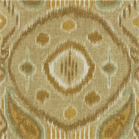 Outer Space Yellow Brown Ikat Drapery Fabric Swatch