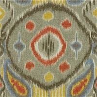 Outer Space Orange Blue Ikat Drapery Fabric