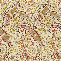 Groovy Paisley Orange Yellow Paisley Floral Drapery Fabric Swatch