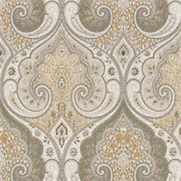 Spades Grey Beige Drapery Fabric Swatch