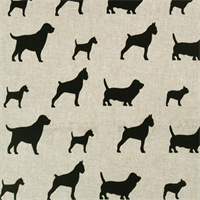 Best Friends Linen Black Printed Drapery Fabric by Premier Prints