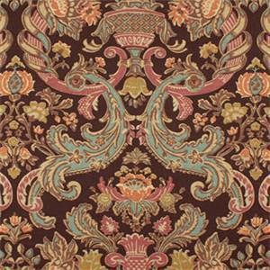 Grand Floral Brown Red and Blue Drapery Fabric Swatch