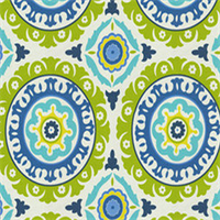 Solar Flare Lime Indigo Blue Suzani Cotton Drapery Print by Waverly